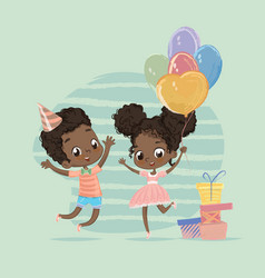 African american child birthday party character vector