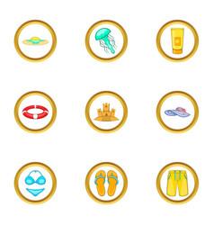Beach holidays icons set cartoon style vector
