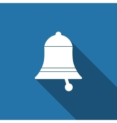 Bell flat icon with long shadow vector image