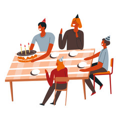 Birthday party at home family around table vector