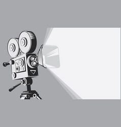 black and white backdrop with vintage movie camera vector image