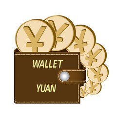 Brown wallet with yuan coins vector