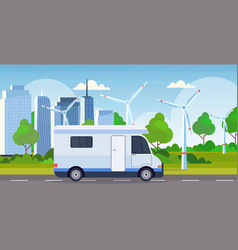 caravan car family trailer truck driving on road vector image