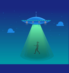 cartoon aliens spaceship or ufo takes girl vector image
