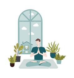 Cartoon man doing meditation sitting on yoga mat vector