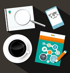 Coffee - Notebook - Cell Phone and Book or vector