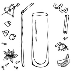 collins coctail glass hand drawn vector image