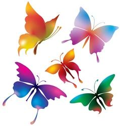 Colored butterflies vector