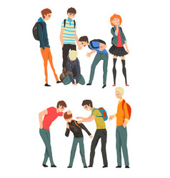 conflict between teenagers mockery and bullying vector image