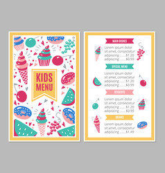 Cute colorful children s menu vector