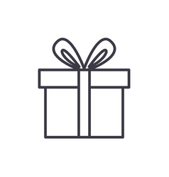cute gift box line icon sign vector image