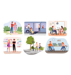 Disabled handicap people in lifestyle scenes vector