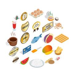 Dish icons set cartoon style vector