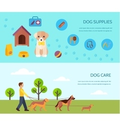 Dog 2 flat horizontal banners composition vector image