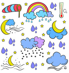 Doodle of weather element various vector