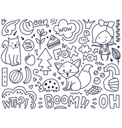 doodles cute isolated elements vector image