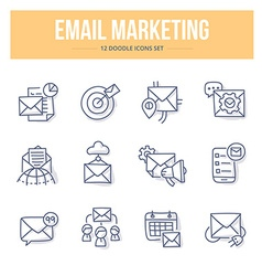 E-Mail Marketing Doodle Icons vector image