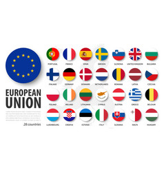 European union eu and membership flags flat vector