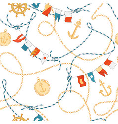 Fashion seamless pattern with golden chains anchor vector