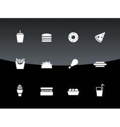 Fast food icons on black background vector image