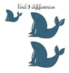 Find differences kids layout for game seal vector image