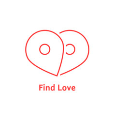 find love with red outline map pin vector image