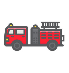 Fire engine filled outline icon transport vehicle vector