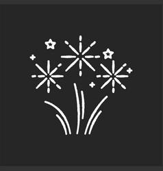 Fireworks chalk white icon on black background vector