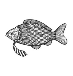 fish in necktie sketch engraving vector image