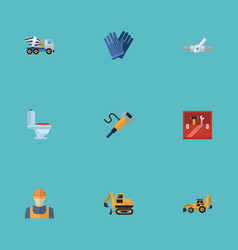 flat icons mitten cement blender tractor and vector image