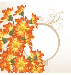 Floral background with orange flowers vector