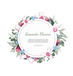 floral round frame with orchid and garden vector image