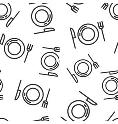 Fork knife and plate icon seamless pattern vector