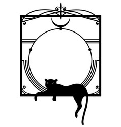 frame with panther vector image