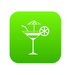 fruit cocktail icon digital green vector image