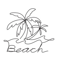 graphic coconut tree and wave vector image