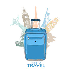 Hand drawn travel bag in background world vector