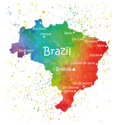 hand drawn watercolor map of brazil vector image