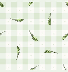 Hand drawn whimsical pea gingham seamless pattern vector