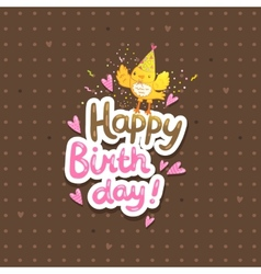 Happy Birthday postcard template with a bird vector image