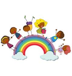 Happy children standing on rainbow vector image