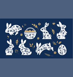 Happy easter bunnies flowers and eggs folk vector