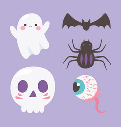happy halloween ghost skull spider creepy eye and vector image