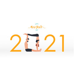 happy new year 2021 banner with yoga poses vector image