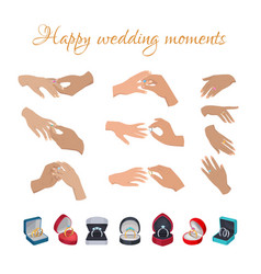 Happy wedding moments rings on fingers collection vector