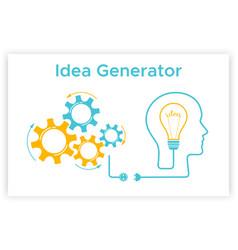 head silhouette lightbulb idea generator concept vector image