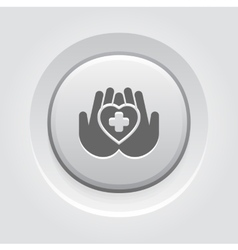 Heart Care Icon Grey Button Design vector
