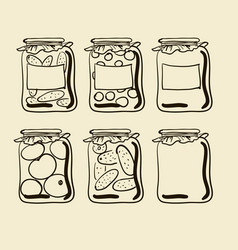 Jars with preserves homemade vegetables and jam vector