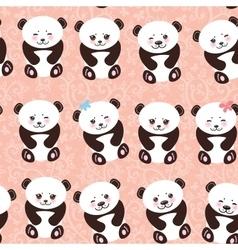 Kawaii funny panda seamless pattern on pink vector