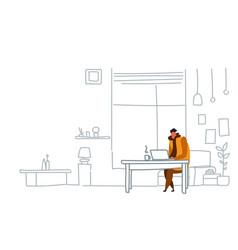 man freelancer using laptop sitting workplace guy vector image